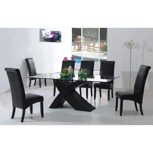 Black Glass Dining Tables With Regard To Well Liked Glass Dining Table Set At Rs 15000 /set (View 7 of 20)