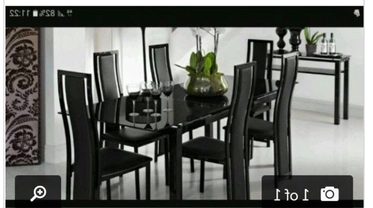 Black Glass Extendable Dining Table With 6 Chairs (View 1 of 20)