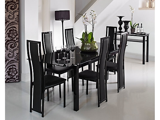 Black Glass Extending Dining Tables 6 Chairs Regarding Best And Newest Furniture And Fittings For M Black Glass Extending Dining Table (View 2 of 20)
