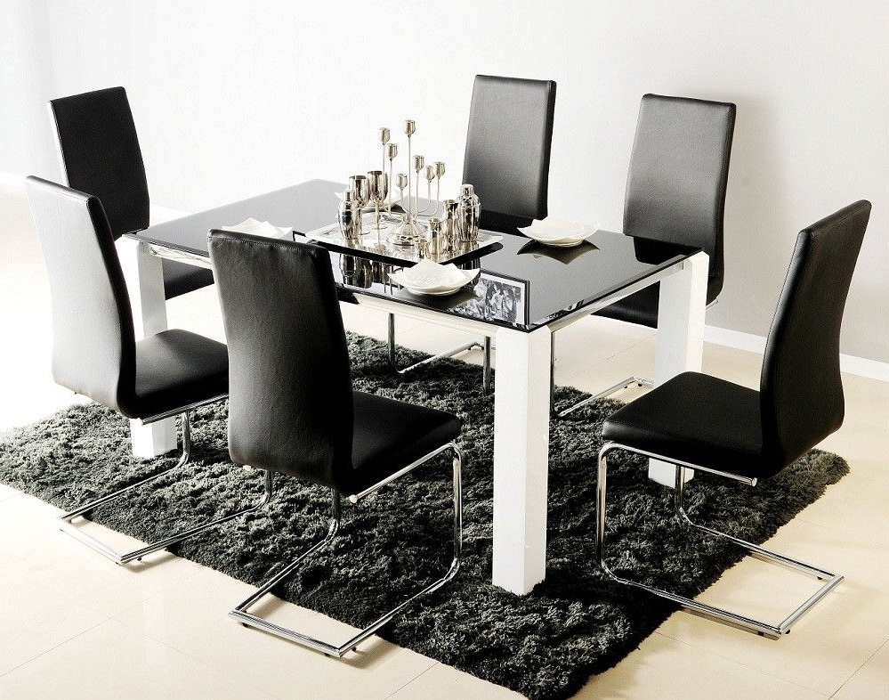 Black Glass Top Dining Table For 6 With White Legs Also Modern Within Most Up To Date Black Glass Dining Tables 6 Chairs (View 15 of 20)