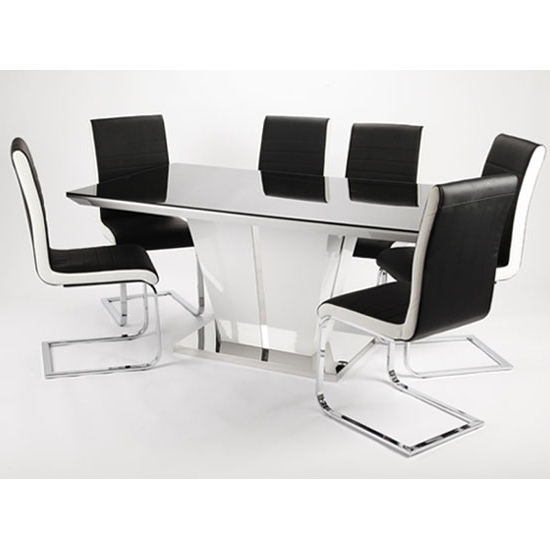 Black Gloss Dining Furniture For Popular Memphis High Gloss Dining Table With Glass Top And 6 Chairs (View 3 of 20)