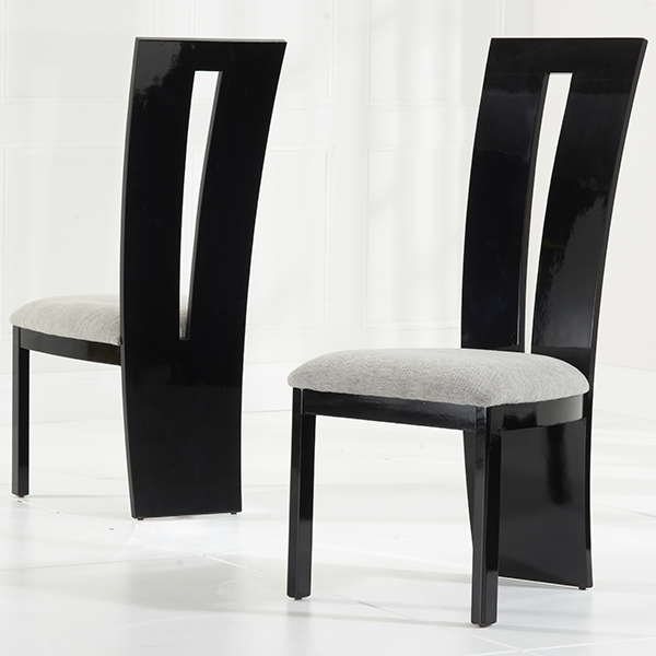 Black Gloss Dining Furniture Intended For Popular Vienna Black Gloss Dining Chairs Pair – Robson Furniture (View 8 of 20)