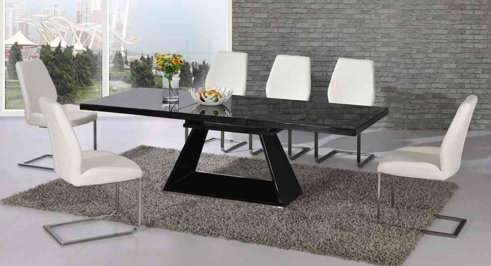 Black Gloss Dining Tables Pertaining To Current Extending Black Glass High Gloss Dining Table And 8 White Chairs (View 5 of 20)