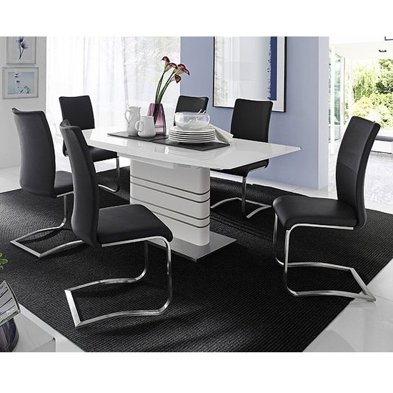 Black High Gloss Dining Chairs With Best And Newest Modus White Gloss Extendable Dining Set And 6 Arco Black (View 7 of 20)
