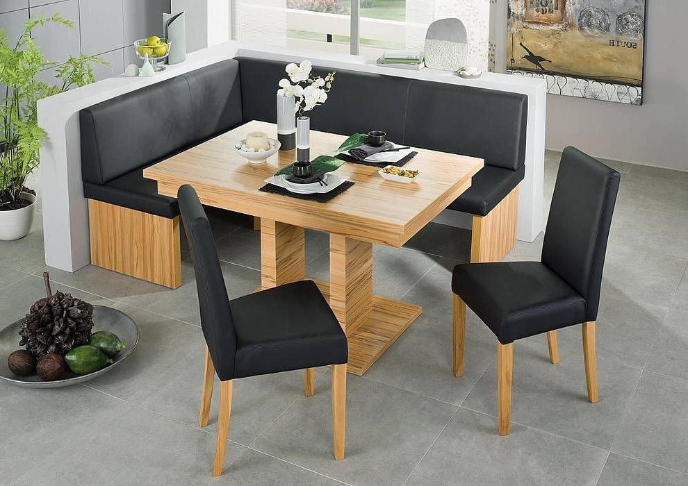 Black Leather Corner Bench Breakfast Booth Nook Kitchen Nook Booth Pertaining To Newest Caira Black 5 Piece Round Dining Sets With Diamond Back Side Chairs (View 3 of 20)