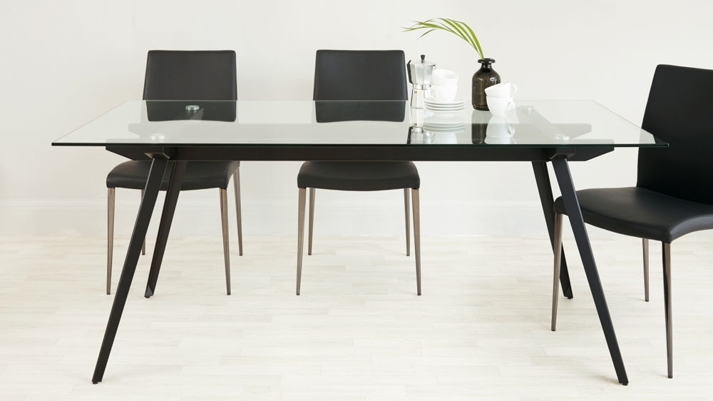 Black Powder Coated Legs Regarding Black 8 Seater Dining Tables (View 12 of 20)