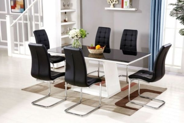 Black/white Murano High Gloss Dining Set (View 6 of 20)
