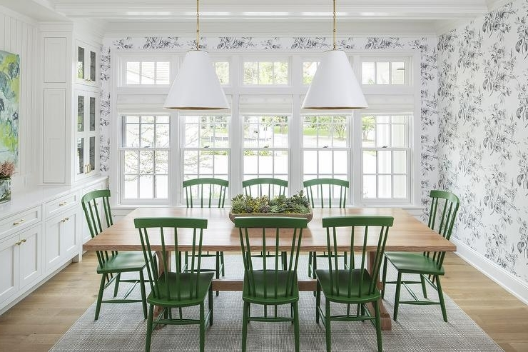 Blond Wood Table With Emerald Green Windsor Dining Chairs Regarding Most Popular Green Dining Tables (View 3 of 20)