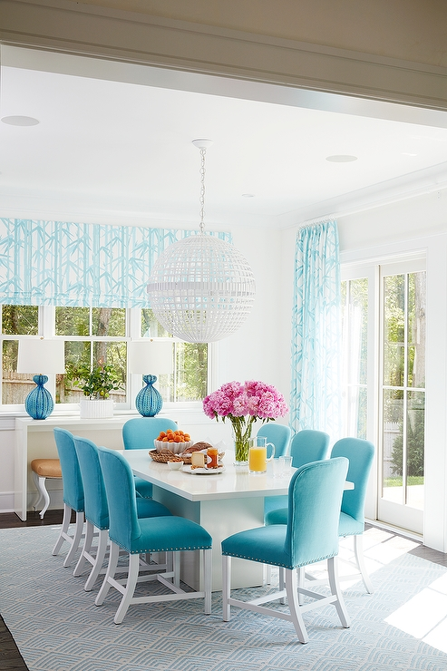 Blue Dining Tables Intended For Well Known White Dining Table With Turquoise Blue Velvet Dining Chairs (View 4 of 20)