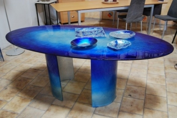 Blue Dining Tables Regarding Current Modern And Attractive Glass Dining Table Design With Blue Sea Color (View 13 of 20)
