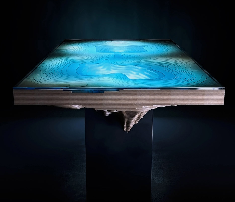 Blue Glass Dining Tables In Popular Duffy London's Abyss Table Resembles Ocean Chasms (View 5 of 20)