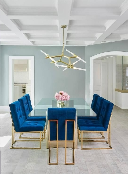 Blue Glass Dining Tables With Regard To Trendy Jonathan Adler Goldfinger Blue Velvet Dining Chairs Frame A Stunning (View 7 of 20)