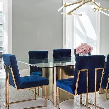 Blue Velvet Tufted Dining Chairs Design Ideas Regarding Favorite Blue Glass Dining Tables (View 8 of 20)