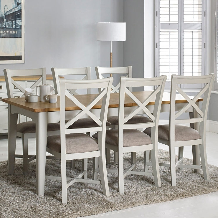 Bordeaux Painted Ivory Large Extending Dining Table + 6 Chairs Intended For Fashionable Extending Dining Tables With 6 Chairs (View 2 of 20)