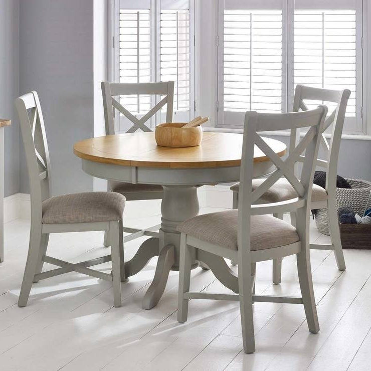 Bordeaux Painted Light Grey Round Extending Dining Table + 4 Chairs With Newest Dining Tables With Grey Chairs (View 4 of 20)