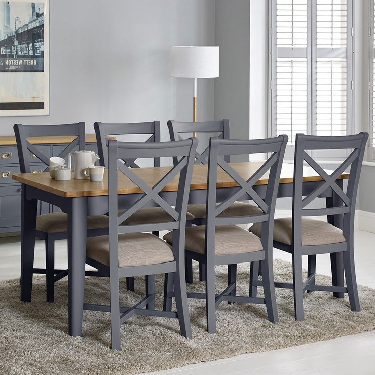 Bordeaux Painted Taupe Large Extending Dining Table + 6 Chairs With Regard To Recent Wood Dining Tables And 6 Chairs (View 2 of 20)