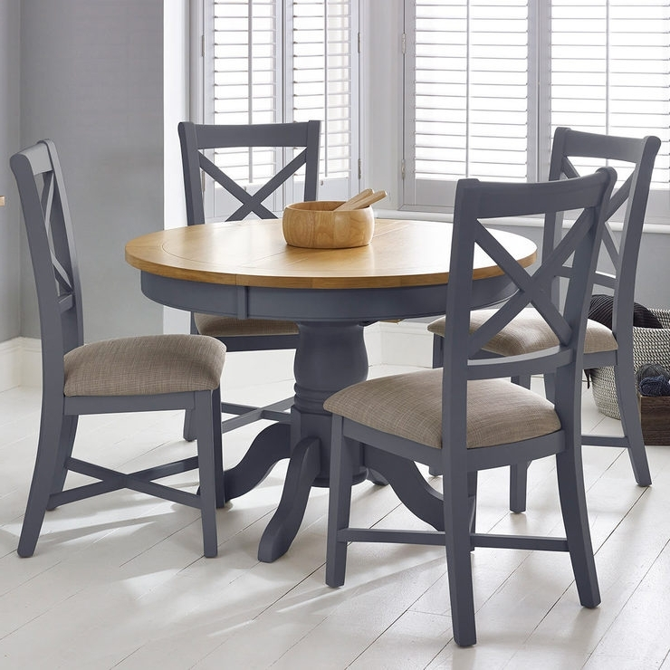 Bordeaux Painted Taupe Round Extending Dining Table + 4 Chairs With Fashionable Round Extending Dining Tables (View 11 of 20)