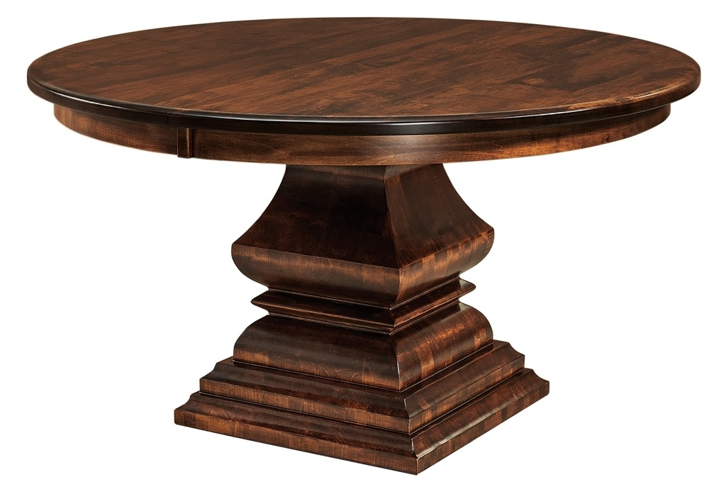 Bradford Dining Tables With Regard To Newest Amish Round Square Pedestal Dining Table Solid Wood Traditional (View 9 of 20)