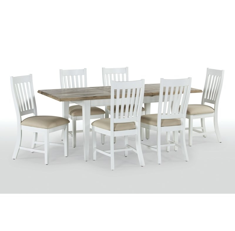 Breakwater Bay Bellemoor Extendable Dining Table With 6 Chairs Intended For Popular Extendable Dining Tables With 6 Chairs (View 5 of 20)