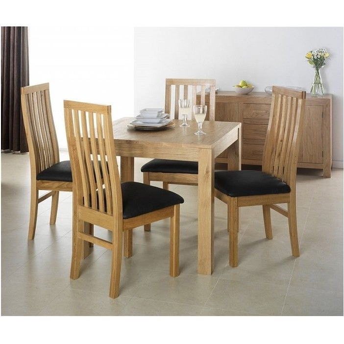 Breathtaking Cuba Oak Square Oak Dining Table With 4 Chairs Within Trendy Oak Dining Tables And 4 Chairs (View 5 of 20)
