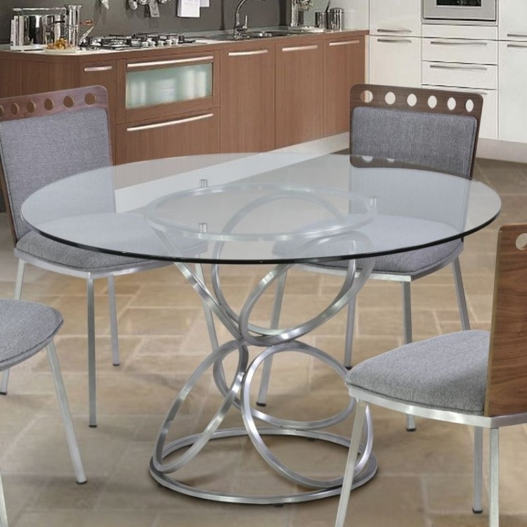 "Brooke 48"" Round Dining Table In Brushed Stainless Steel Finish With With Regard To Most Up To Date Brushed Steel Dining Tables (View 2 of 20)"
