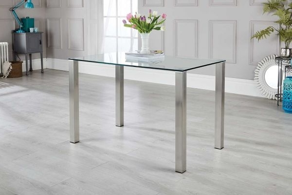 Brushed Metal Dining Tables Throughout Most Recent Salerno 4 Clear Glass And Brushed Stainless Steel Metal Dining Table (View 1 of 20)