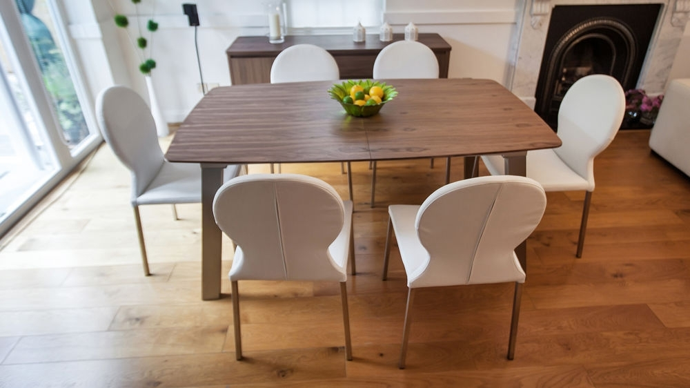 Brushed Metal Legs Regarding Extending Dining Room Tables And Chairs (View 3 of 20)