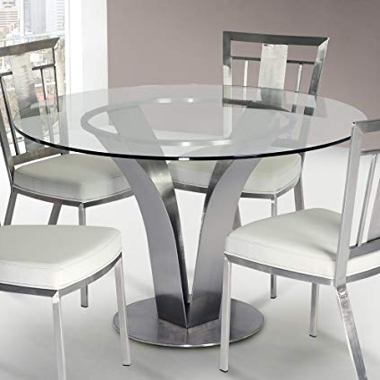 Brushed Steel Dining Tables For Most Current Amazon – Armen Living Lccldib201To Cleo Dining Table With Clear (View 3 of 20)