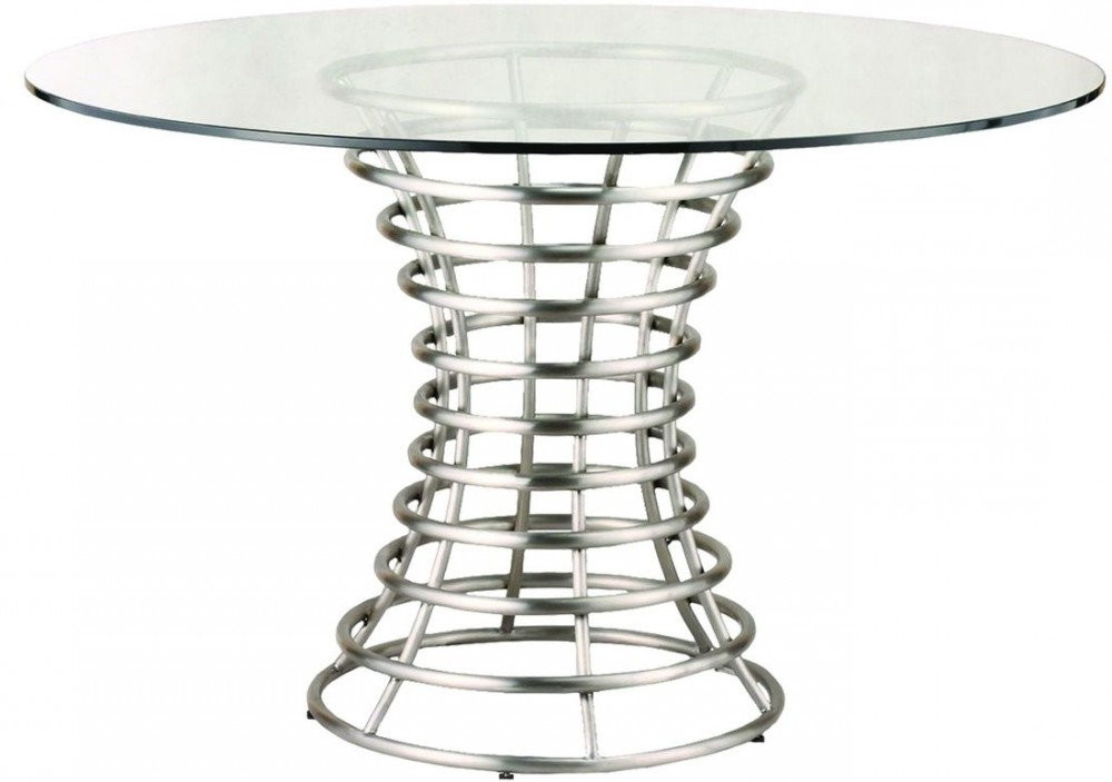 Brushed Steel Dining Tables With Widely Used Armen Living Ibiza Brushed Stainless Steel Dining Table With Clear (View 8 of 20)