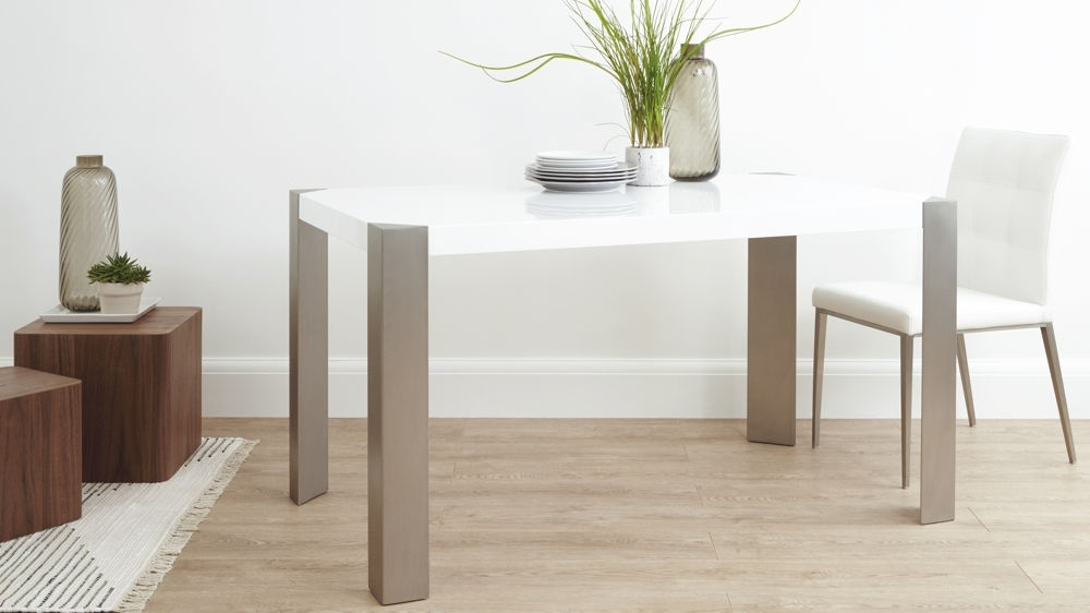 Brushed Steel Legs 6 Seater For Gloss Dining Tables And Chairs (View 3 of 20)