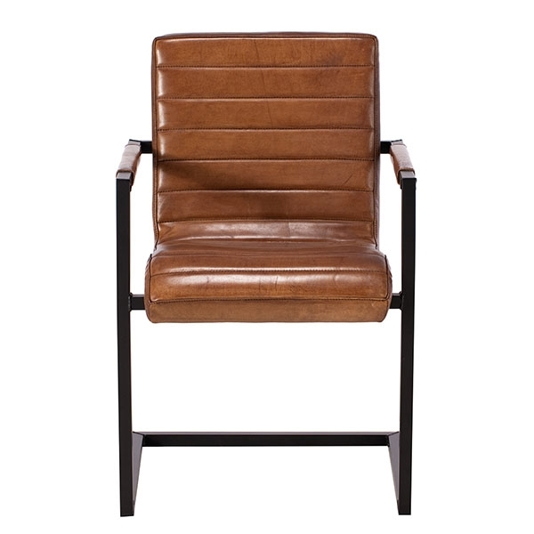 Brutus Buffalo Leather Dining Chair, Brown (View 4 of 20)