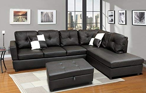 Burton Leather 3 Piece Sectionals With Ottoman Intended For Trendy Amazon: Winpex 3 Piece Faux Leather Sectional Sofa Set With Free (View 4 of 15)