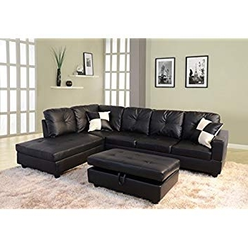 Burton Leather 3 Piece Sectionals With Ottoman Throughout Popular Amazon: Winpex 3 Piece Faux Leather Sectional Sofa Set With Free (View 5 of 15)