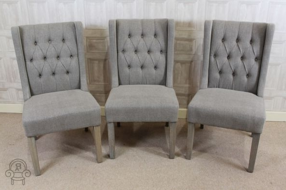 Button Back Dining Chairs Pertaining To Popular Lovely Button Back French Style Upholstered Dining Chair In Stone (View 5 of 20)