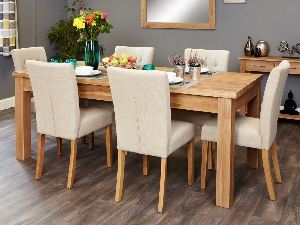 Buy Baumhaus Mobel Oak Extending Dining Set With 6 Flare Back Cream Within 2018 Oak Extending Dining Sets (View 19 of 20)