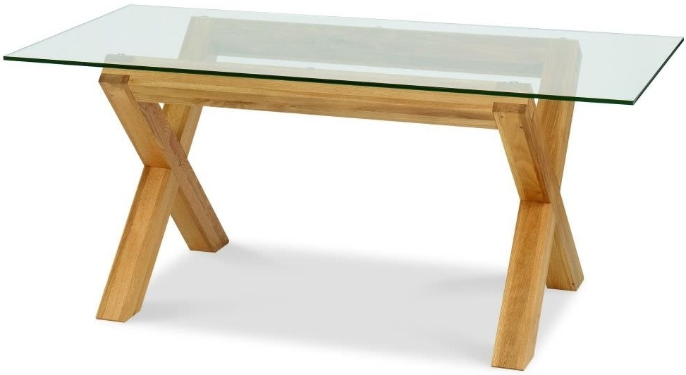 Buy Bentley Designs Lyon Oak Glass Rectangular Dining Table – 180Cm With Widely Used Glass And Oak Dining Tables And Chairs (View 2 of 20)