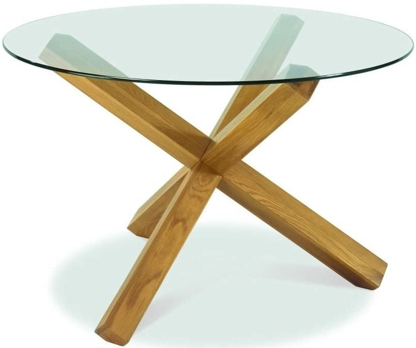 Buy Bentley Designs Lyon Oak Glass Top Round Dining Table – Dia With Regard To Well Known Oak Glass Top Dining Tables (View 2 of 20)