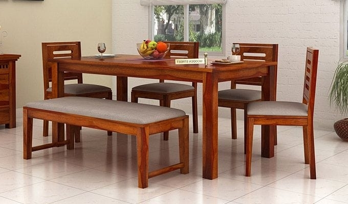 Buy Janet 6 Seater Dining Table Set With Bench (Honey Finish) Online Throughout Well Known 6 Seat Dining Table Sets (View 9 of 20)