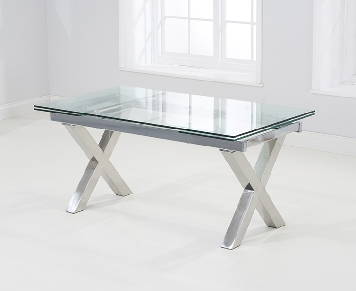 Buy Mark Harris Cilento Glass Dining Table – 160Cm Rectangular Regarding Current Extending Rectangular Dining Tables (View 2 of 20)