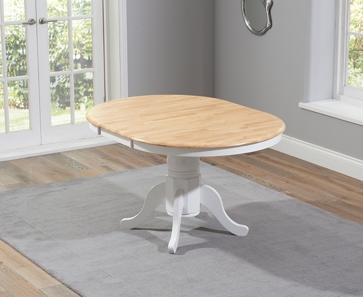 Buy Mark Harris Elstree Oak And White Dining Table – 100cm Round For Popular White Round Extendable Dining Tables (View 4 of 20)