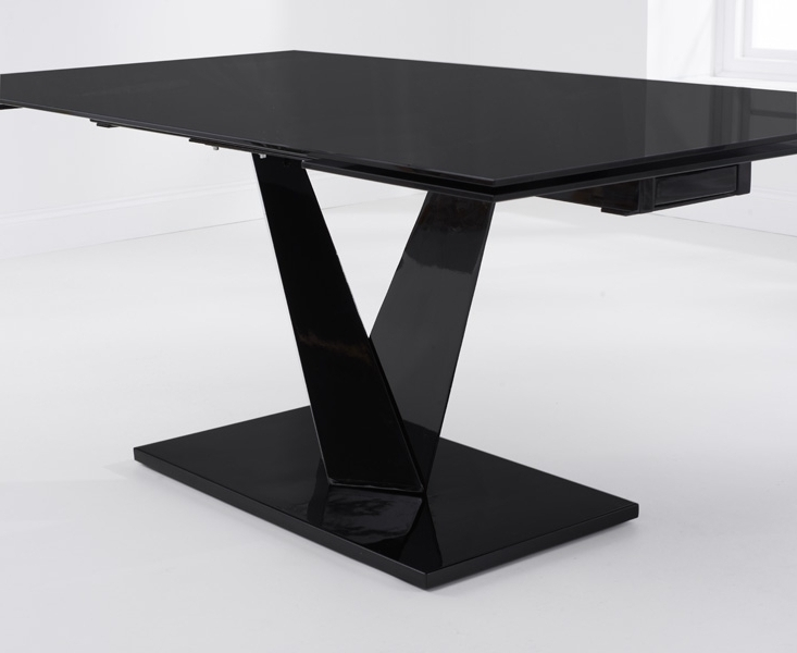 Buy Mark Harris Isla Black Glass Dining Table – 180Cm Rectangular Throughout Most Recently Released Extending Black Dining Tables (View 5 of 20)