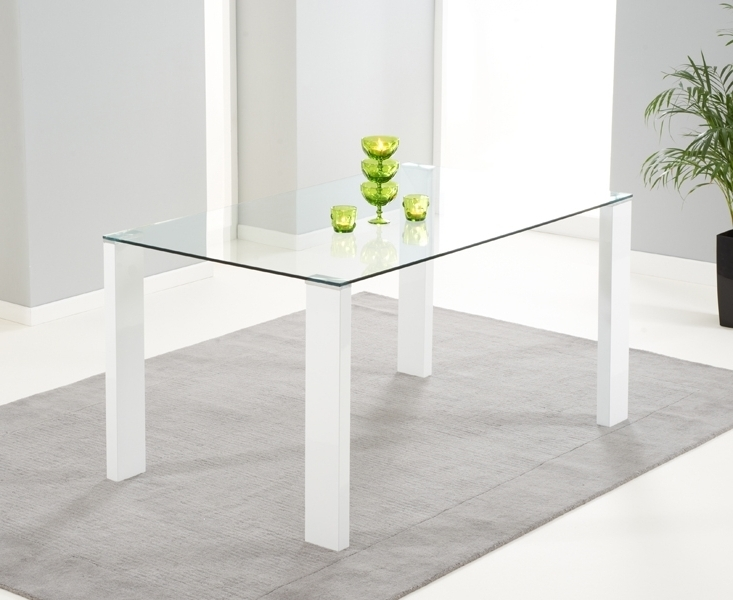 Buy Mark Harris Lourdes White High Gloss And Glass Dining Table Regarding Most Recent White Gloss And Glass Dining Tables (View 4 of 20)