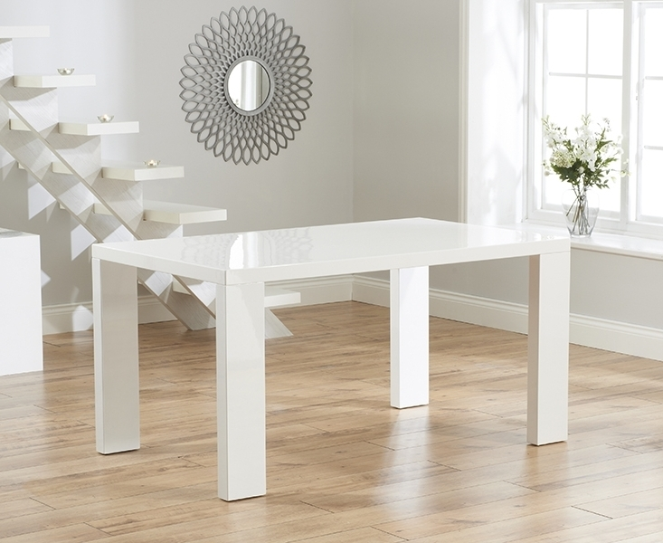 Buy Mark Harris Metz White High Gloss Dining Set – 120Cm Rectangular Throughout Most Current Gloss Dining Set (View 6 of 20)