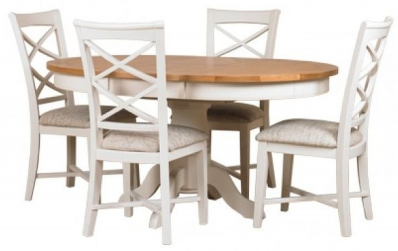 Buy Mark Webster Padstow Painted Round Extending Dining Set With 4 In Most Recent Round Extending Dining Tables And Chairs (View 2 of 20)