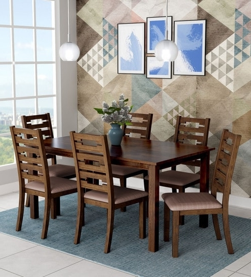 Buy Rocco Six Seater Dining Set In Walnut Finishroyal Oak Online Throughout Most Current Rocco Extension Dining Tables (View 10 of 20)
