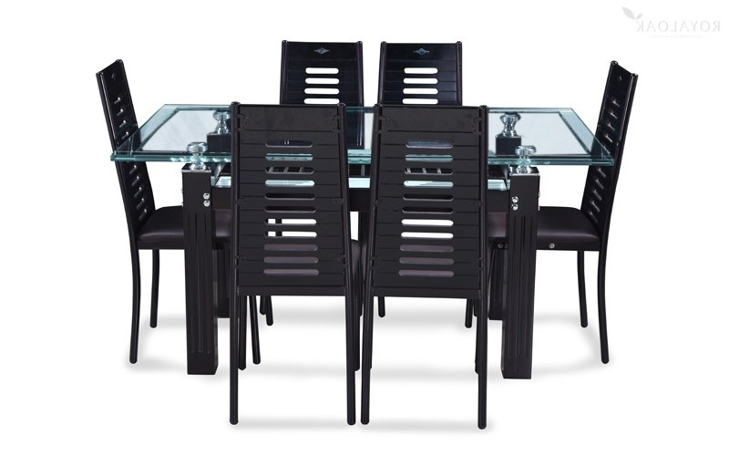Buy Royaloak County 6 Seater Dining Set With Tempered Glass Top And Within Latest Glass 6 Seater Dining Tables (View 6 of 20)