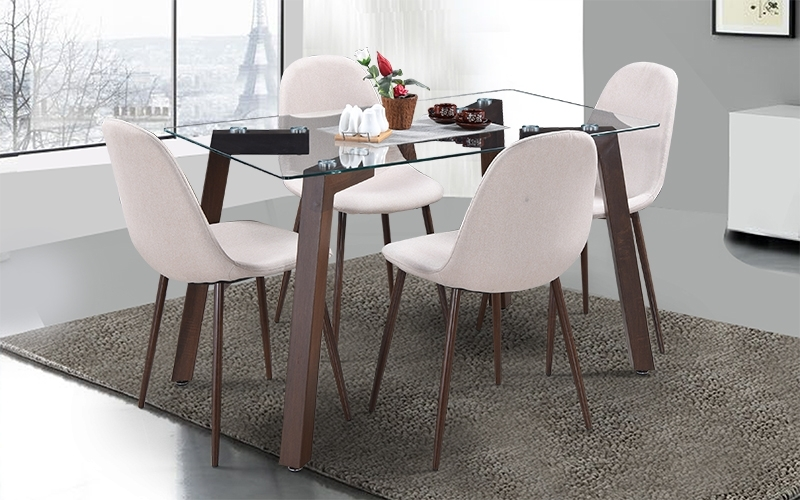Buy Royaloak Fortuna 4 Seater Dining Set With Glass Table Top Pertaining To Famous 4 Seat Dining Tables (View 8 of 20)