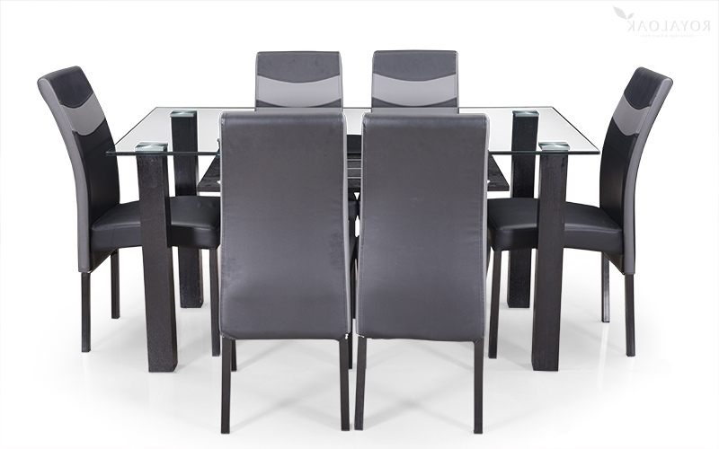 Buy Royaloak Micra 6 Seater Dining Set With Tempered Glass Top And With Regard To 2018 6 Seat Dining Tables And Chairs (View 8 of 20)
