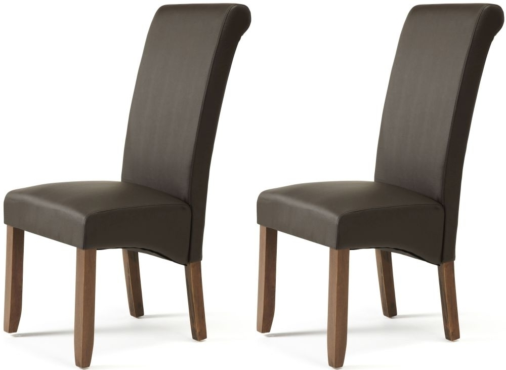 Buy Serene Kingston Brown Faux Leather Dining Chair With Walnut Legs Inside Newest Brown Leather Dining Chairs (View 5 of 20)