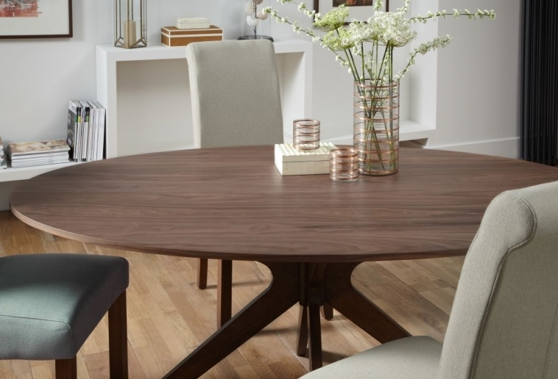 Buy Serene Waltham Walnut Oval Fixed Top Dining Table – 180Cm Online Throughout 2017 Walnut Dining Tables (View 4 of 20)
